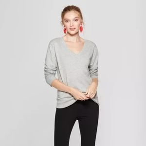 A New Day V-Neck Sweater Long Sleeve Gray Size XS